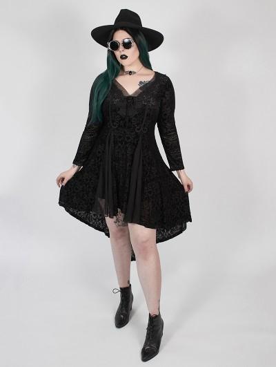 Punk Rave Black Vintage Gothic Flower Velvet Long Sleeve Plus Size High-Low dress