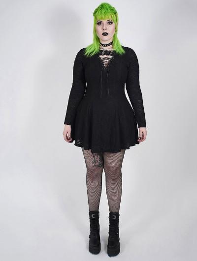 Punk Rave Black Gothic Punk Long Sleeve Short Plus Size Dress