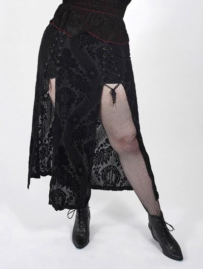 Punk Rave Black Vintage Gothic Velvet Long Slit Plus Size Skirt