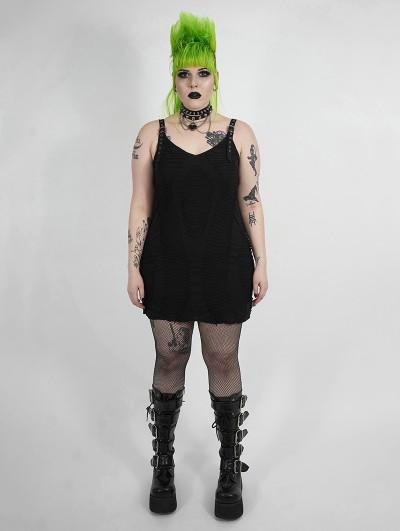 Punk Rave Black Gothic Punk Sexy Plus Size Short Dress