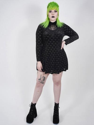 Punk Rave Black Gothic Velvet Heart Long Sleeve Short Plus Size Dress
