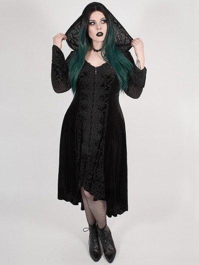 Punk Rave Black Gothic Chinese Style Dark Velvet Burning Out Long Plus Size Coat for Women