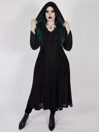 Punk Rave Black Gothic Dark Moon Long Hooded Plus Size Coat for Women