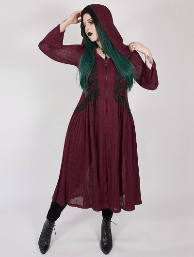 Punk Rave Red Gothic Dark Moon Long Hooded Plus Size Coat for Women