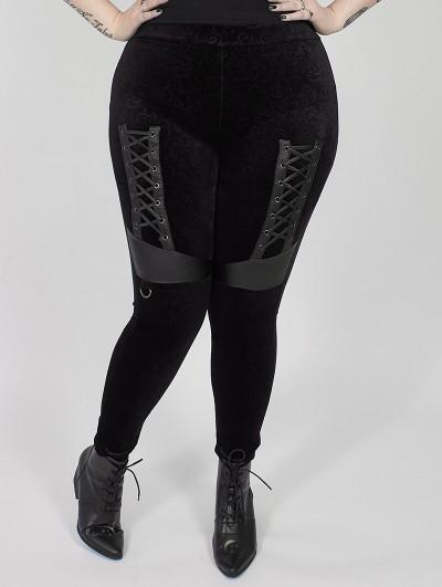 Punk Rave Black Gothic Punk Velvet Plus Size Leggings for Women