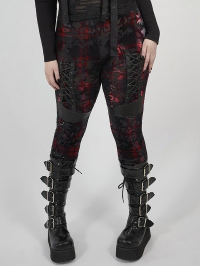Punk Rave Red Plaid Gothic Punk Velvet Plus Size Leggings for Women