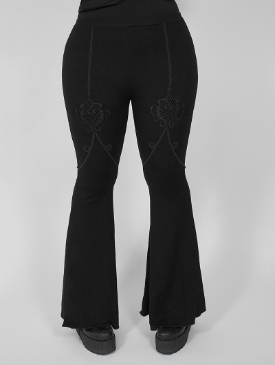 Punk Rave Dark Gothic Lace Plus Size Flared Pants for Women