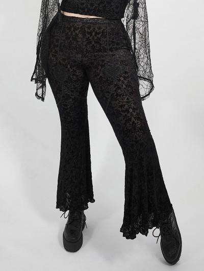 Punk Rave Dark Gothic Velvet Plus Size Flared Pants for Women