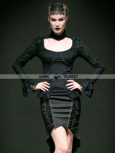 Punk Rave Black Lace and Cotton Long Sleeves Gothic Sexy Shirt for Women
