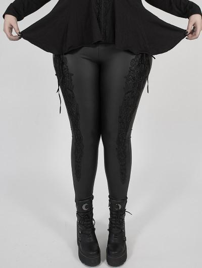 Punk Rave Black Gothic PU Leather Stretch Plus Size Legging for Women
