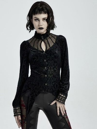 Punk Rave Black Vintage Gothic Long Sleeve Irregular Shirt for Women