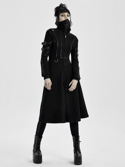 Punk Rave Black Gothic Punk Military Casual Mid Length Coat for Women