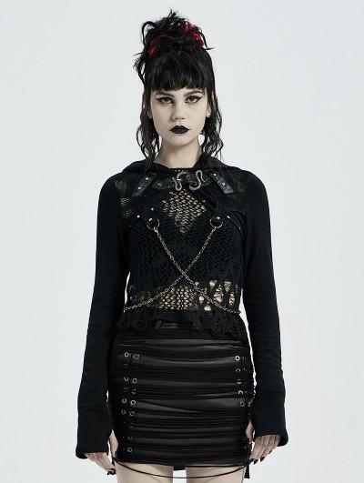 Punk Rave Black Gothic Punk Chain Hooded Short Coat for Women
