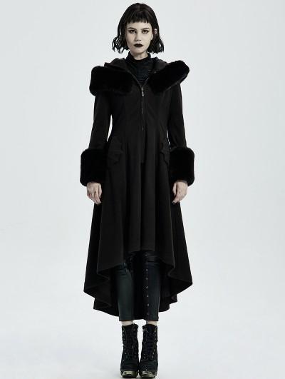 Punk Rave Black Vintage Gothic Long Winter Warm Hooded Coat for Women