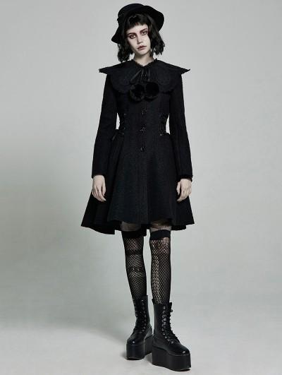 Punk Rave Black Gothic Lolita Mid Length Winter Warm Hooded Coat for Women