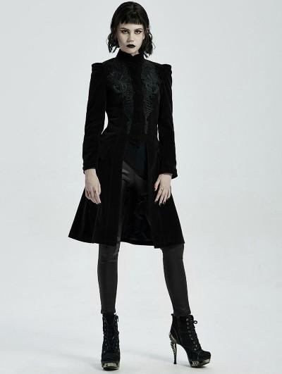 Punk Rave Black Vintage Gothic Velvet Mid Length Tail Coat for Women