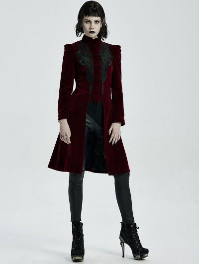 Punk Rave Dark Red Vintage Gothic Velvet Mid Length Tail Coat for Women