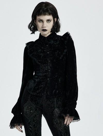 Punk Rave Black Gothic Gorgeous Velvet Long Sleeve Shirt for Women