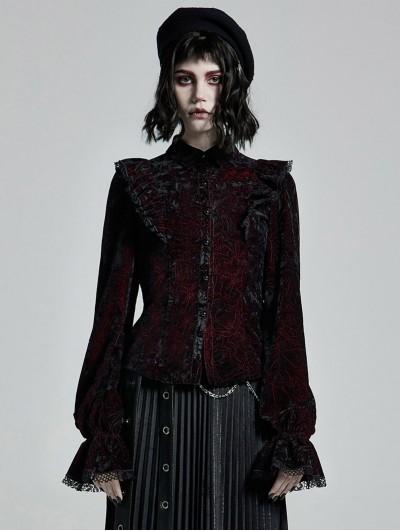 Punk Rave Dark Red Gothic Gorgeous Velvet Long Sleeve Shirt for Women