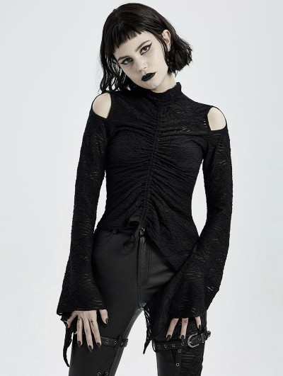 Punk Rave Black Gothic Daily Wear Long Sleeve Asymmetric T-Shirt for Women