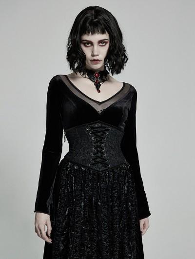 Punk Rave Black Gothic Gorgeous Court Jacquard Corset Waistband for Women