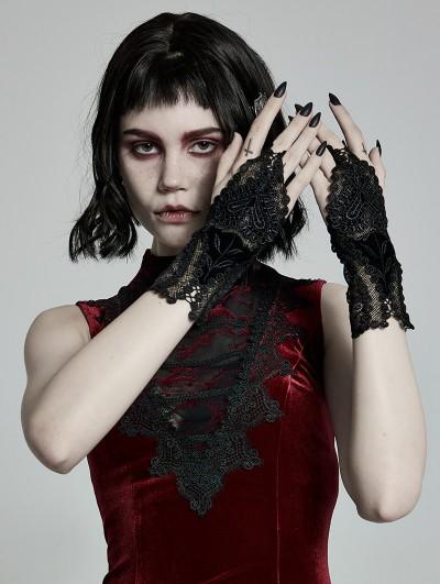 Punk Rave Black Gothic Velvet Lace Gloves for Women