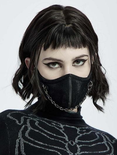 Punk Rave Black Gothic Punk Chain Face Mask for Women