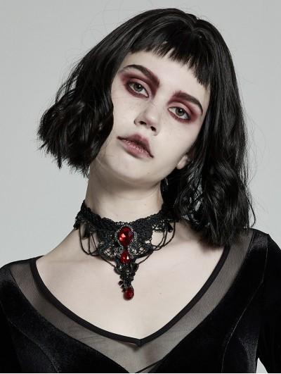Punk Rave Black Lace Gothic Gem Necklace for Women