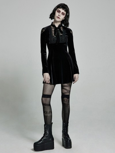 Punk Rave Black Cute Gothic Velvet Long Sleeve Daily Wear Short Dress