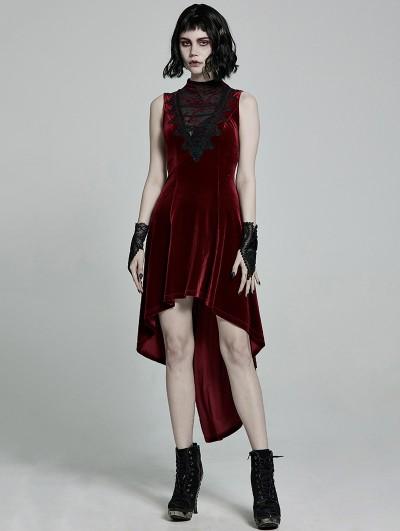 Punk Rave Red Retro Gothic Sexy Velvet High-Low Sleeveless Dress