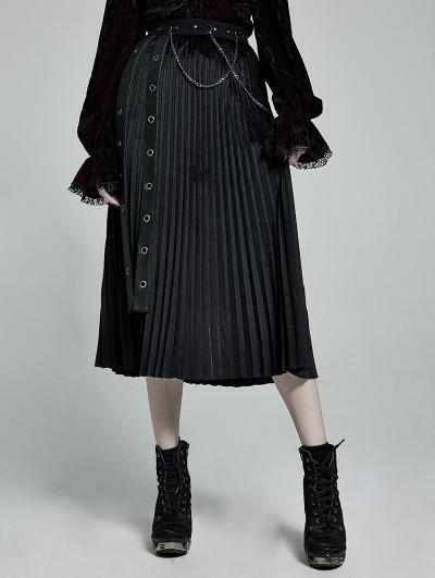 Punk Rave Black Gothic Punk Velvet Pleated Daily Wear Long Skirt