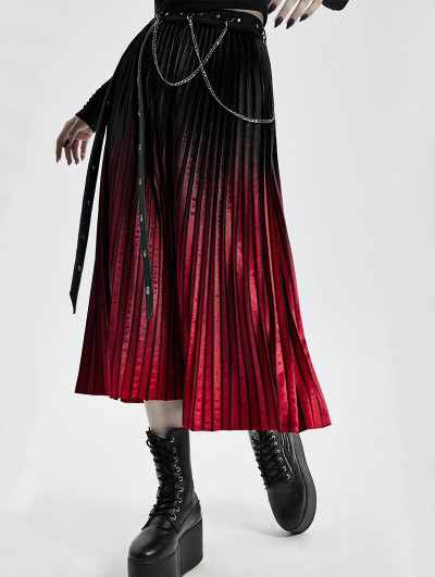 Punk Rave Black and Red Gothic Punk Velvet Pleated Daily Wear Long Skirt