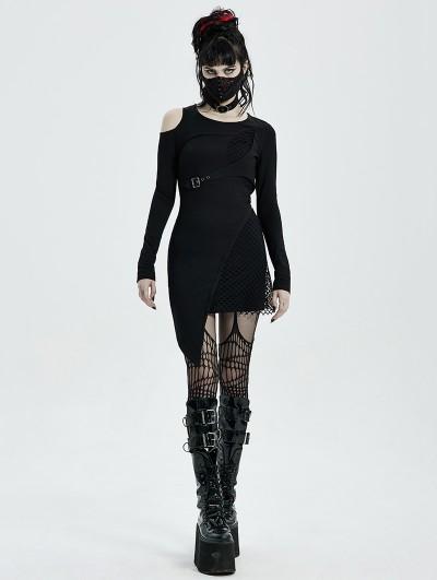 Punk Rave Black Gothic Punk Long Sleeve Asymmetric Short Dress