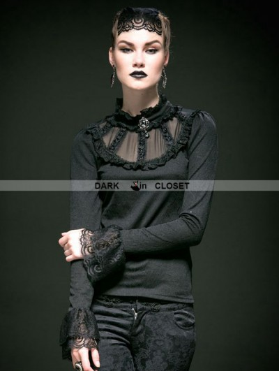 Punk Rave Black Cotton and Lace Gothic Sexy Shirt for Women