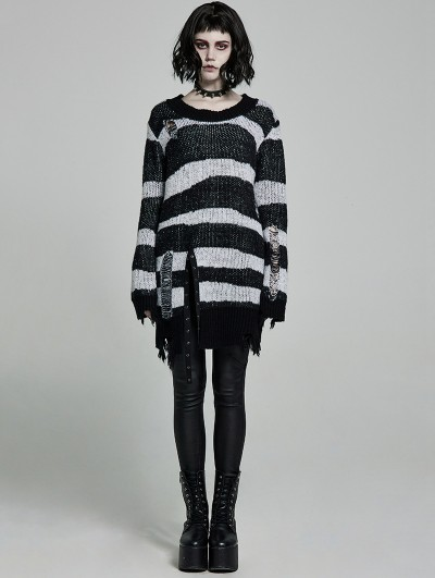 Punk Rave Black and White Stripe Gothic Pullover Daily Wear Sweater for Women
