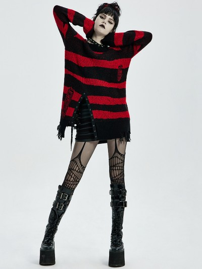 Punk Rave Black and Red Stripe Gothic Pullover Daily Wear Sweater for Women