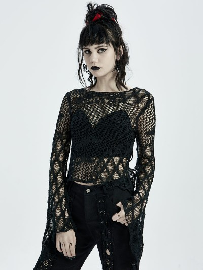 Punk Rave Black Gothic Hollow Daily Wear Short Sweater for Women