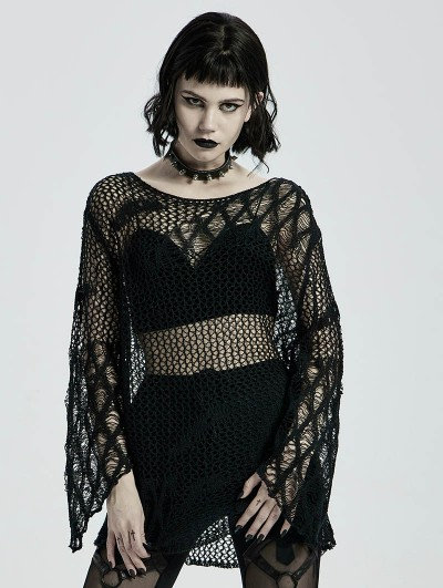 Punk Rave Black Gothic Hollow Daily Wear Sweater for Women