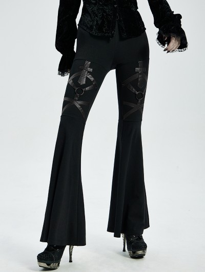 Punk Rave Black Gothic Punk Flared Trousers for Women