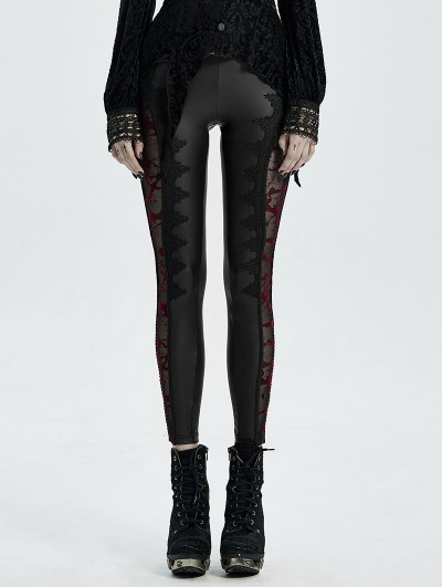 Punk Rave Black Sexy Gothic Lace Mesh Long Leggings for Women