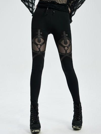 Punk Rave Black Gothic Punk Long Leggings for Women