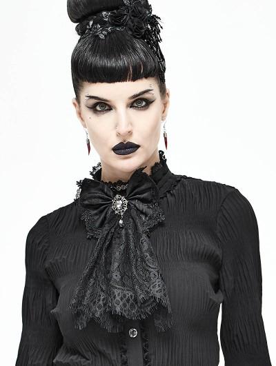 Devil Fashion Black Vintage Gothic Lace Pendant Bowtie for Women