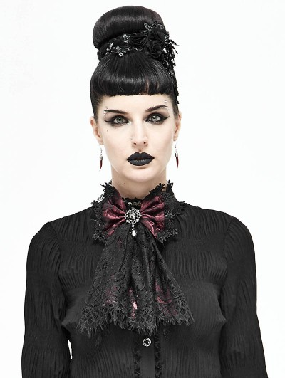 Devil Fashion White Vintage Gothic Lace Pendant Bowtie for Women