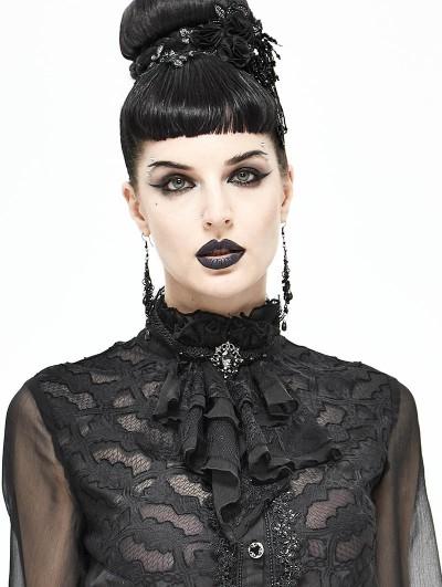 Devil Fashion Black Vintage Gothic Lace Pendant Party Bowtie for Women