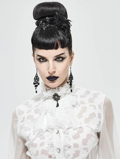 Devil Fashion White Vintage Gothic Lace Pendant Party Bowtie for Women