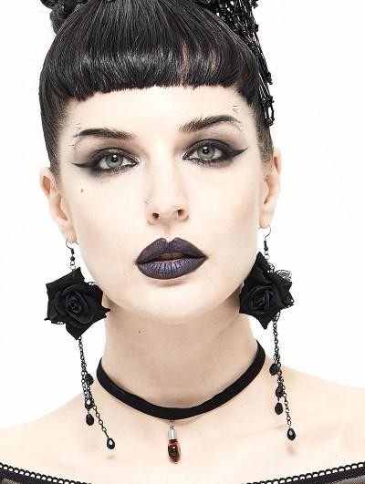 Devil Fashion Black Gothic Flower Pedant Earrings