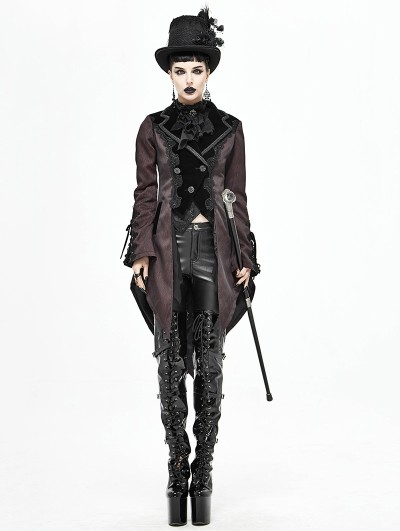 Devil Fashion Red Vintage Gothic Party Swallow Tail Coat for Women