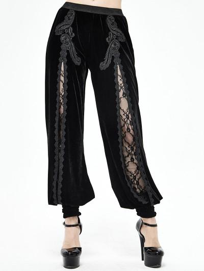 Devil Fashion Black Vintage Gothic Velvet Daily Wear Long Pants for Women