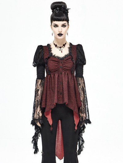 Devil Fashion Red and Black Vintage Gothic Victorian Long Sleeve Irregular Shirt for Women