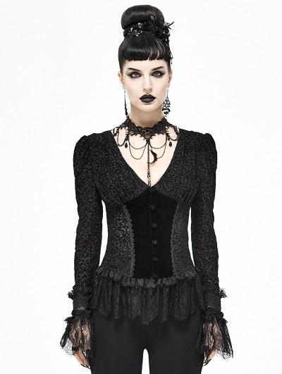 Devil Fashion Black Vintage Elegant Gothic Sexy Long Sleeve Shirt for Women